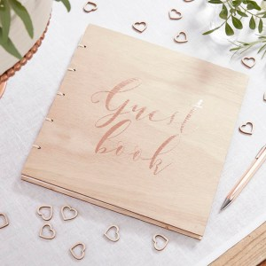 Rose Gold Wooden Guest Book