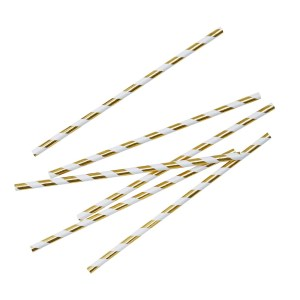 Metallic Gold Stripey Paper Straws