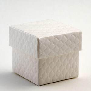 Antique White Trapunta Square Favour Box with Lid