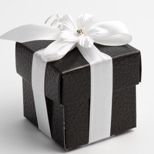 Black Pelle Square Favour Box with Lid