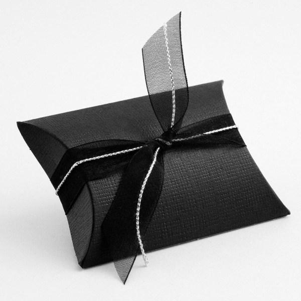 Black Silk Pillow Favour Box