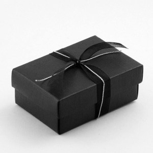 Black Silk Rectangular Favour Box with Lid