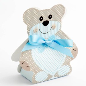 Blue Teddy Bear Favour Box - Large