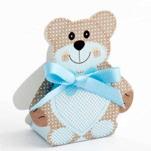 Blue Teddy Bear Favour Box - Small