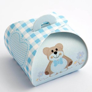 Blue Teddy Bear Tortina Favour Box - Small