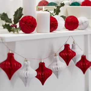Christmas Red & White Honeycomb Bauble Garland