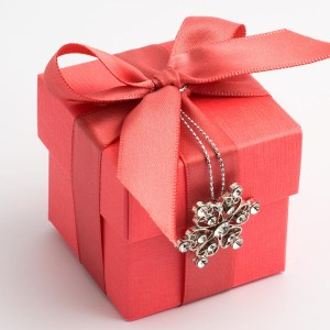 Coral Pink Silk Square Favour Box with Lid