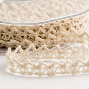 Cream Cotton Lace Heart Ribbon 6mm x 10M