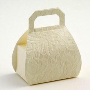 Cream Macrame Handbag Favour Box