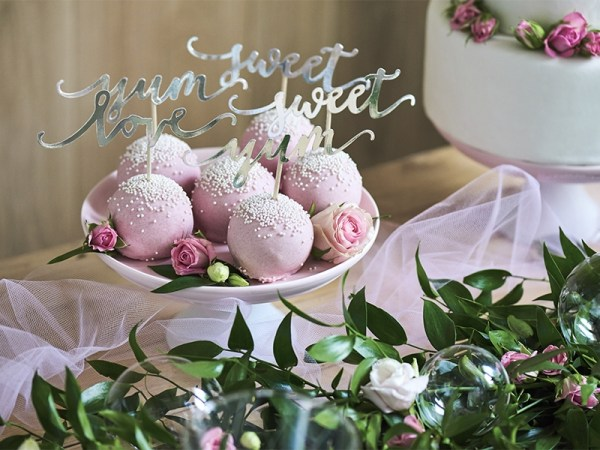 Elegant Silver Cupcake Toppers