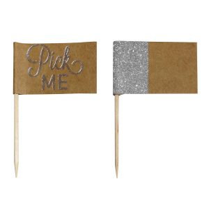 Festive Silver Foiled Cake Sticks