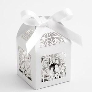Filigree Bird Cage Favour Box - Pearlised White