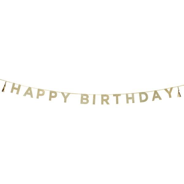 Gold Glitter Happy Birthday Bunting