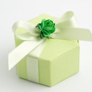 Green Silk Hexagonal Favour Box