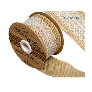 Hessian & White Lace Ribbon 50mm x 5yards