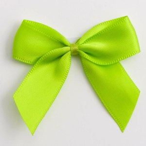 Lime Satin Bows 12 Pack