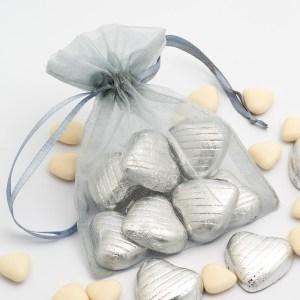 Medium Silver Organza Favour Bag