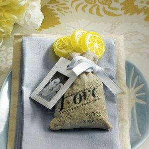 Mini Hessian Drawstring Bags with Love Print x 12