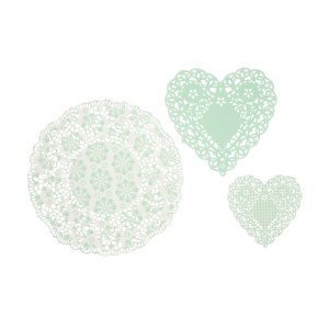 Mint Heart Doilies