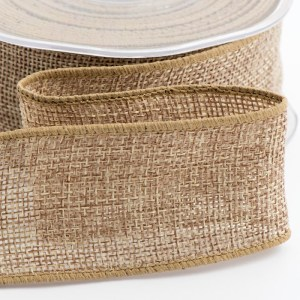 Natural Wired Edge Hessian Ribbon