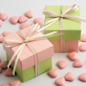 Pink & Light Green Silk Square Box and Lid