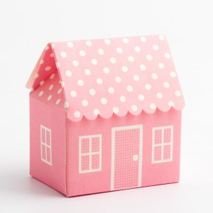 Pink Polka Dot House Favour Box