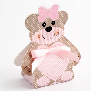 Pink Teddy Bear Favour Box - Large