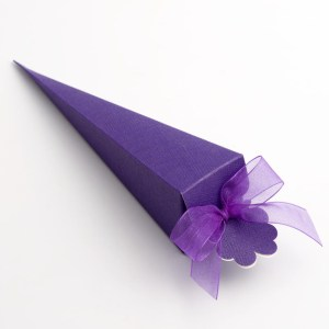 Purple Silk Cone Favour Box