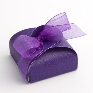 Purple Silk Mini Astuccio Favour Box