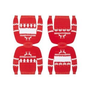 Red And White Christmas Jumper Place Cards
