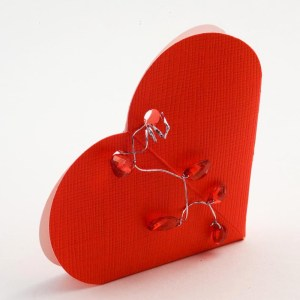 Red Silk Heart Favour Box