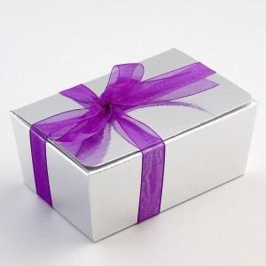 Silver Silk Ballotin Favour Box 103mm x 67mm x 45mm