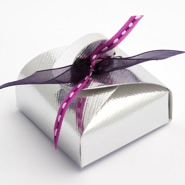 Silver Silk Mini Astuccio Favour Box