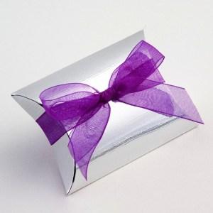 Silver Silk Pillow Favour Box