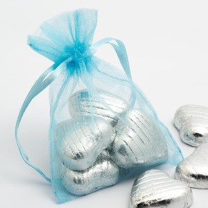 Small Pale Blue Organza Favour Bag