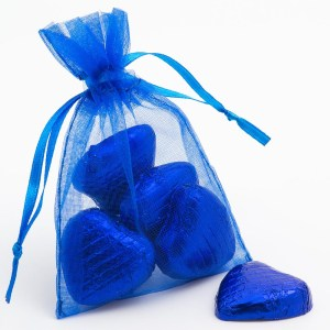 Small Royal Blue Organza Favour Bag