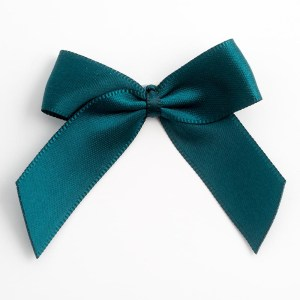 Teal Satin Bows 12 Pack
