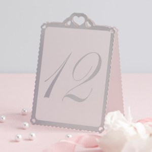 White & Silver Heart Table Numbers 1-12