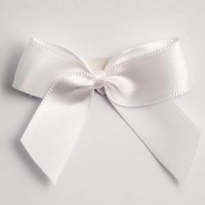 White Satin Bows 12 Pack