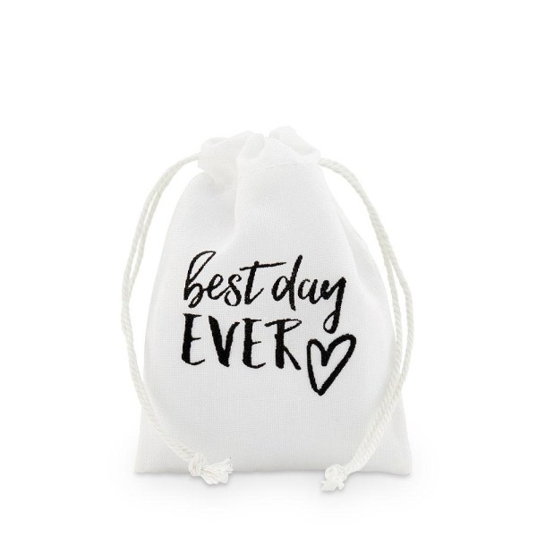 """""""best day ever"""" Print Muslin Favour Bags - Small"""