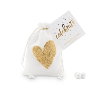 Gold Glitter Heart Muslin Favour Bags - Small