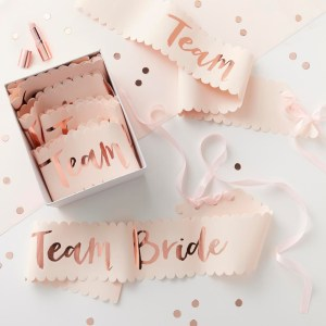 Pink & Rose Gold Team Bride Sashes - 6 Pack