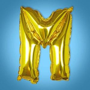 Gold Foil Letter 'M' Balloon
