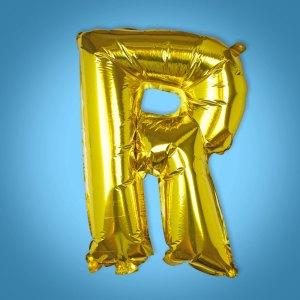 Gold Foil Letter 'R' Balloon