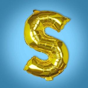 Gold Foil Letter 'S' Balloon