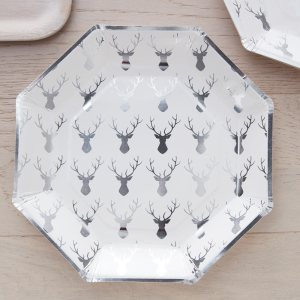 Silver Foiled Stag Pattern Plate