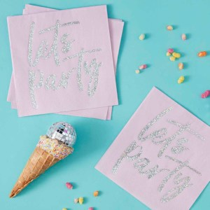 Iridescent Foiled Lets Party Napkins