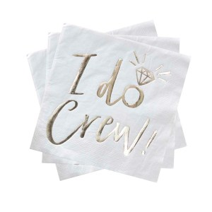 Gold Foiled I Do Crew Hen Party Napkins