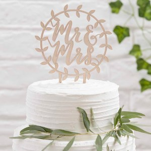 Wooden Mr & Mrs Vine Cake Topper