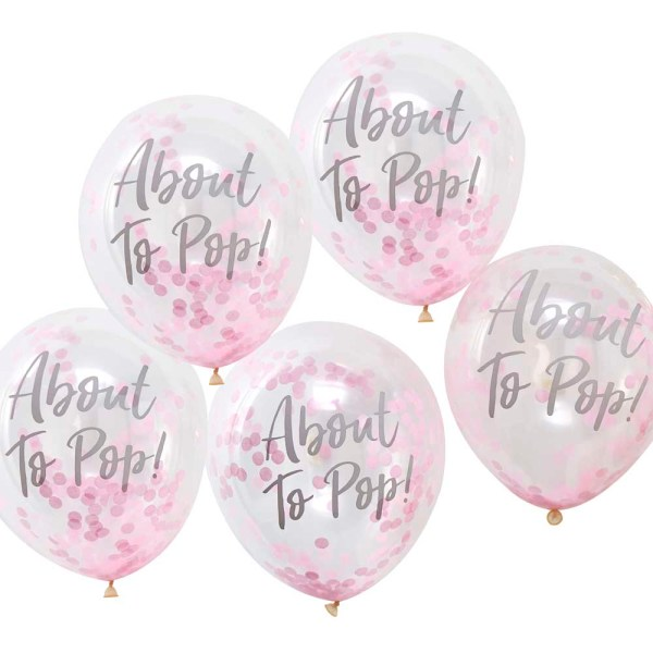 Pink 'About To Pop!' Confetti Balloons